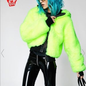 Neon green faux fur jacket with hood.